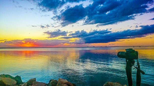 Camera shoot sunset Redcliffe stock photo