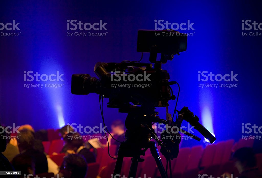 Camera silhouette with audience royalty-free stock photo