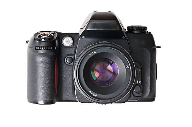 Camera - SLR SLR with normal lens attached isolated on white. digital single lens reflex camera stock pictures, royalty-free photos & images