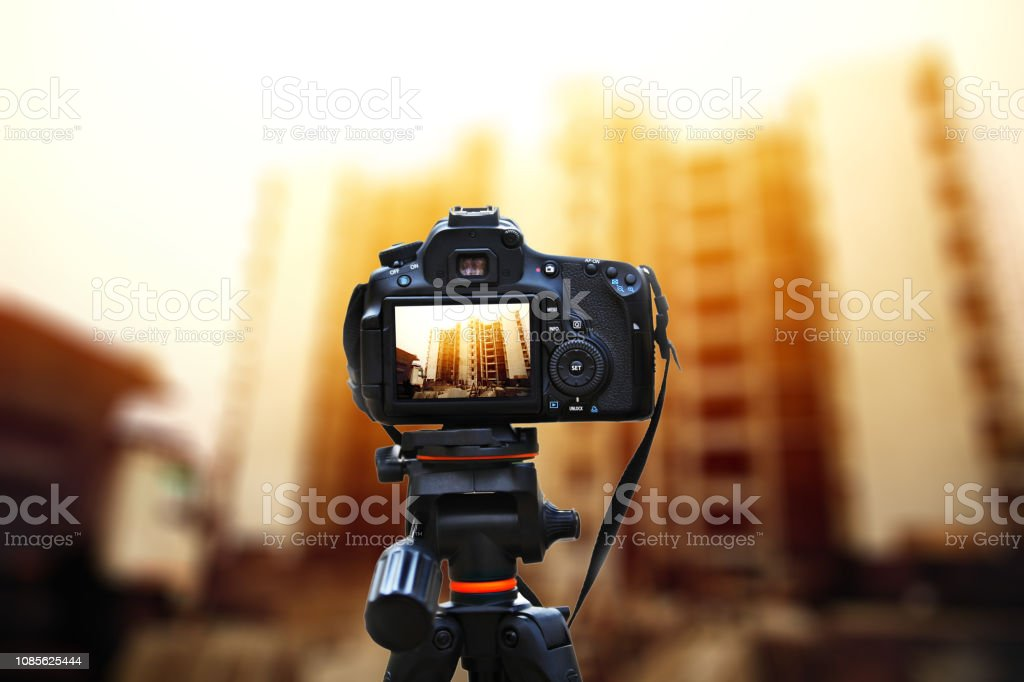 Camera Taking Shot On Construction Site Stock Photo - Download Image Now