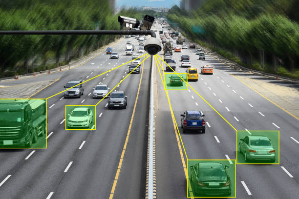 Camera that controls speeding cars and speeding on the road. stock photo