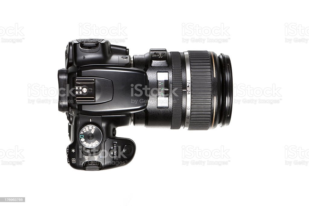 DSLR Camera - top view stock photo