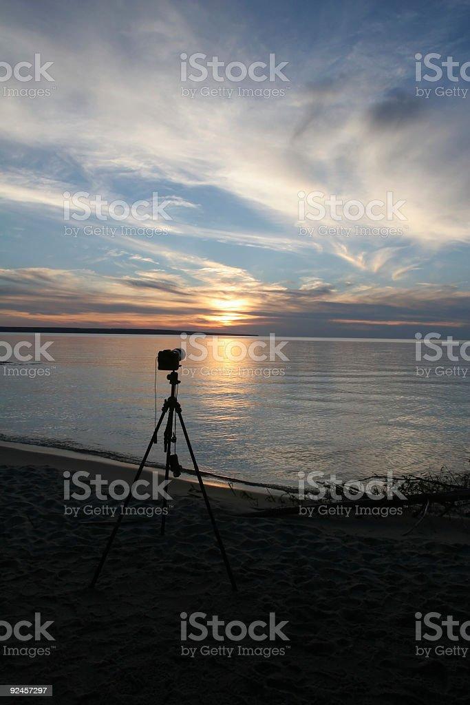 Camera, Tripod and Sunset royalty-free stock photo