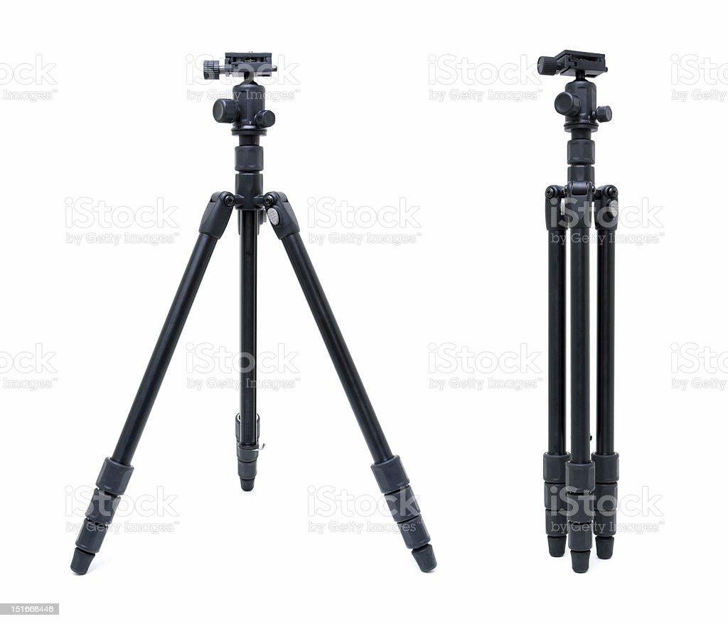 Camera tripod isolated on white background stock photo