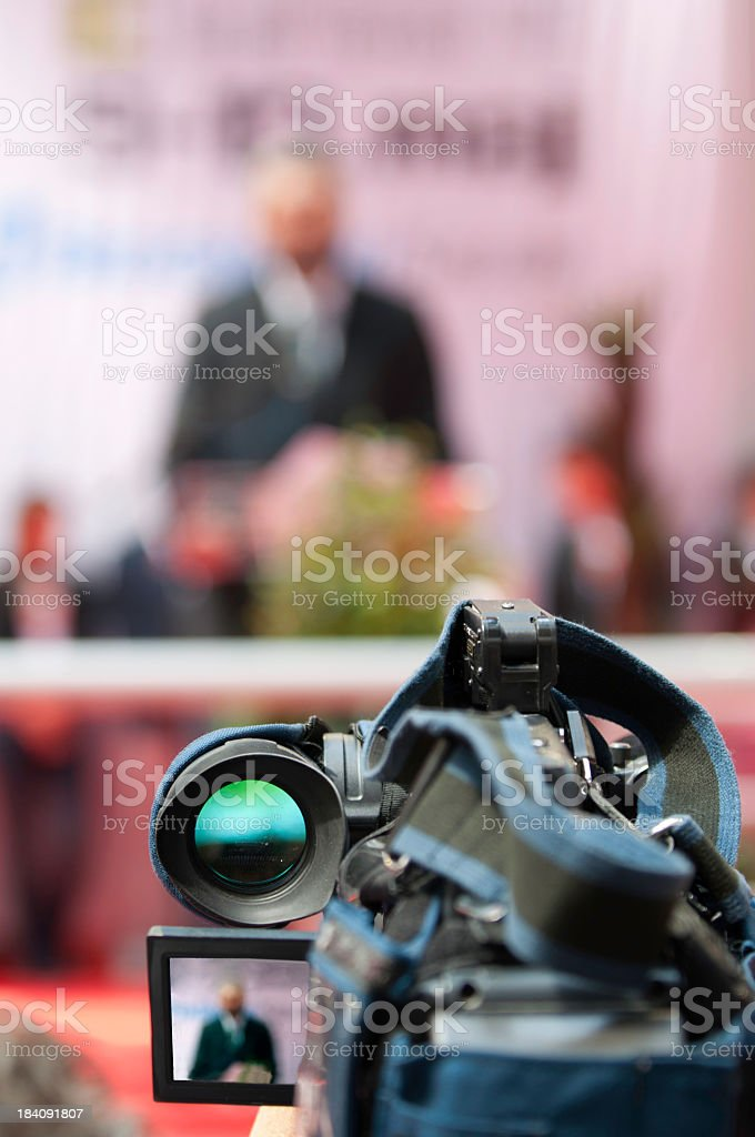 A camera view of a press conference royalty-free stock photo
