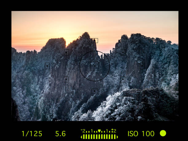 camera viewfinder with travel destination attraction. huangsan mountain range, china - digital viewfinder stock photos and pictures