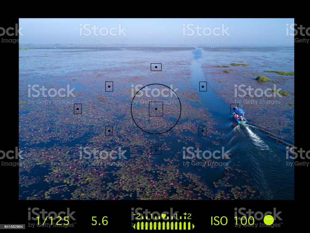 camera viewfinder with travel destination attraction. stock photo