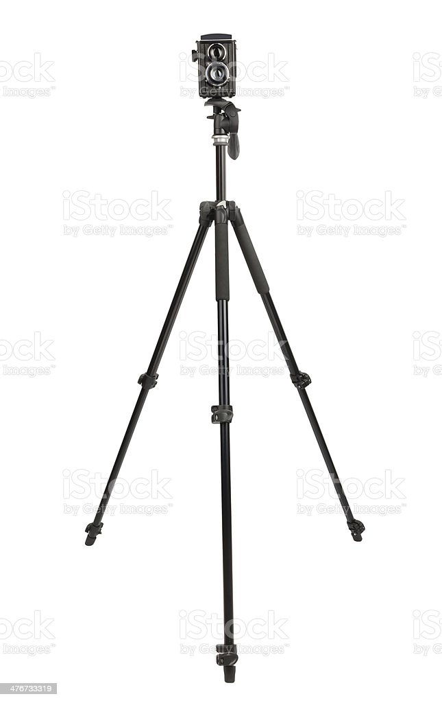 camera vintage tripod stock photo