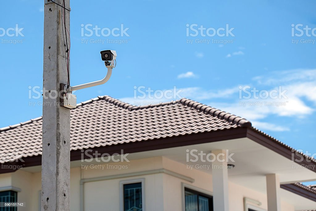 CCTV Camera with home background stock photo