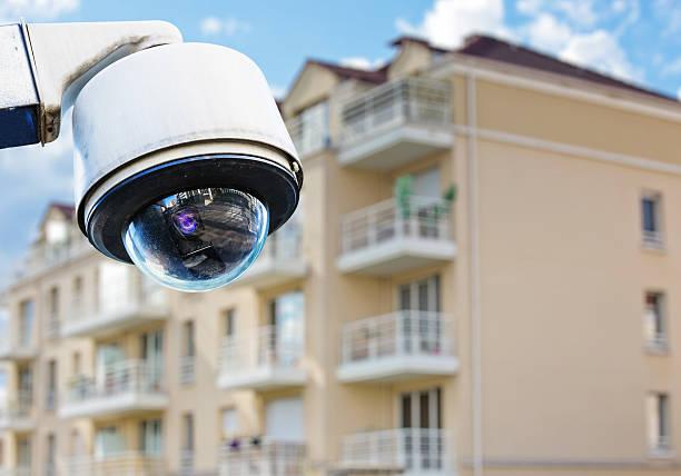 CCTV camera with modern luxury residence stock photo