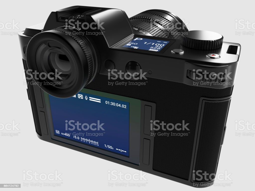 Camera with optical lens - Back view stock photo