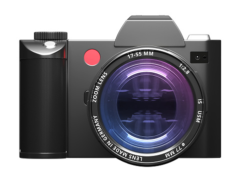 istock Camera with optical lens - Front view 864124808
