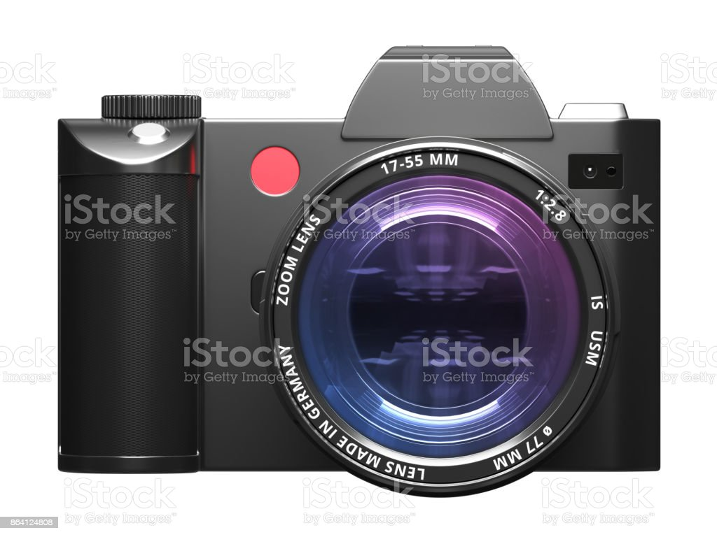 Camera with optical lens - Front view stock photo
