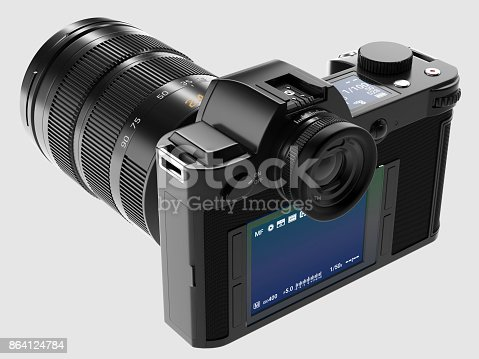 istock Camera with optical lens - Perspective view 864124784