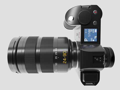 istock Camera with optical lens - Top view 864124802