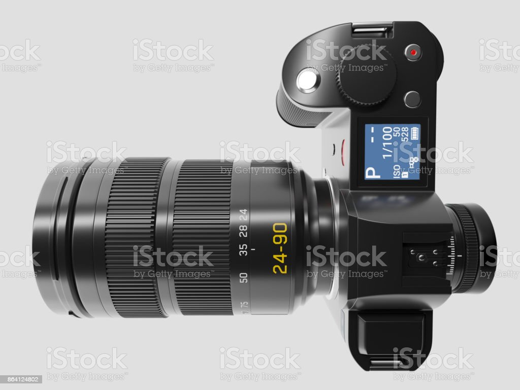 Camera with optical lens - Top view stock photo