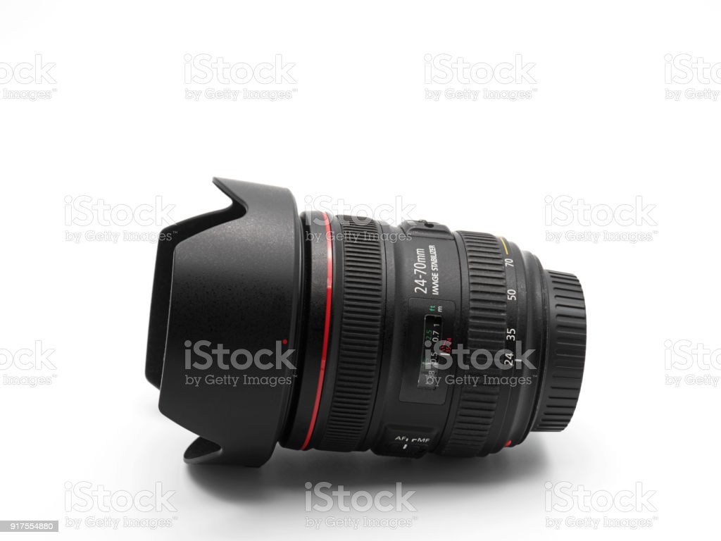 Camera Zoom Lens with Lens Hood Isolated on White Background stock photo