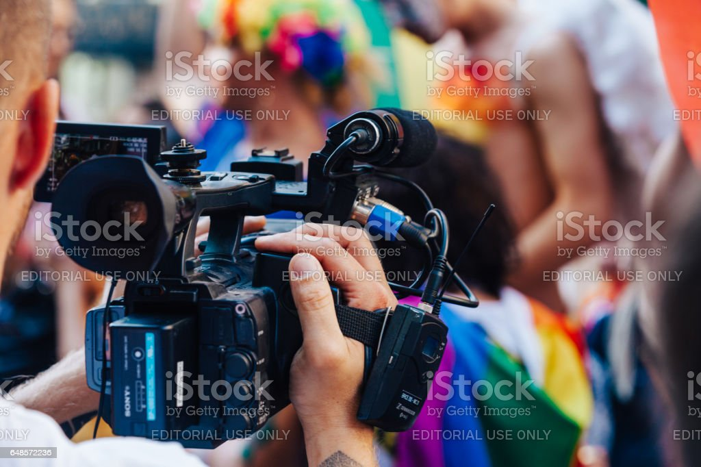 Cameraman filming an LGBT Pride Istanbul. stock photo