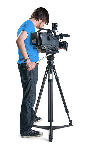 Cameraman in blue shirt isolated on white background stock photo