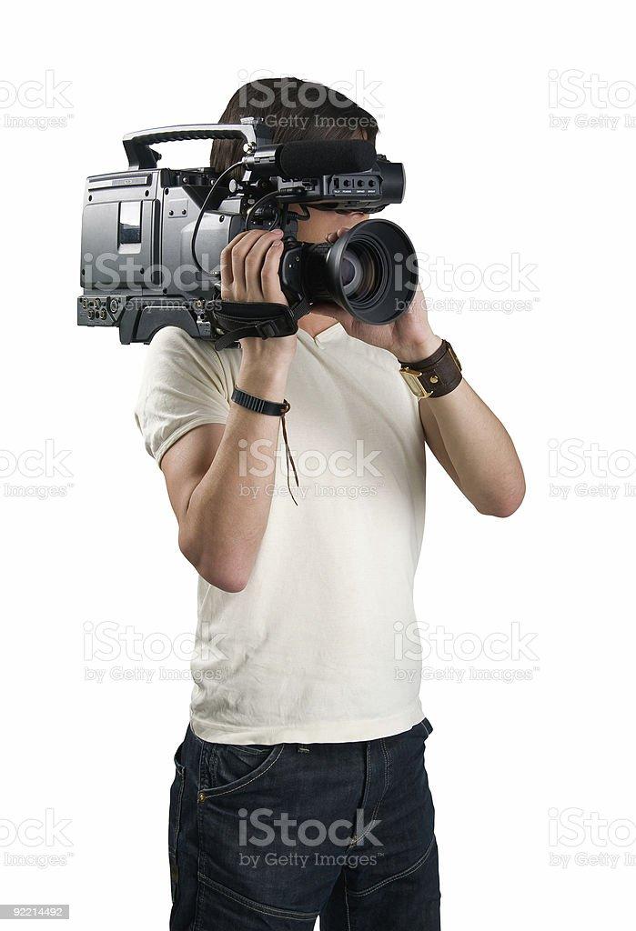 Cameraman, isolated on white background stock photo
