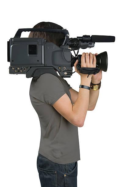 Kameramann, isoliert auf weißem Hintergrund – Foto