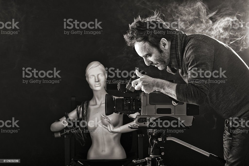 Cameraman on set stock photo