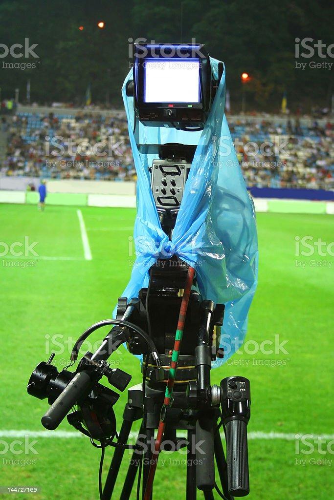 Cameraman on the stadium stock photo