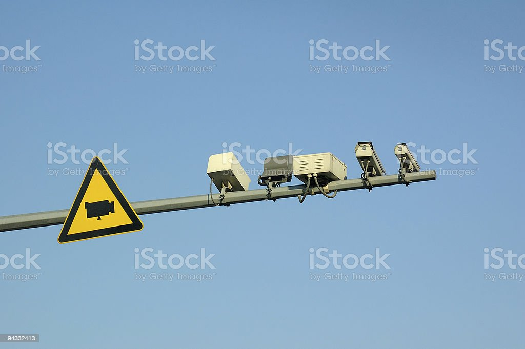 cameras and warning sign royalty-free stock photo