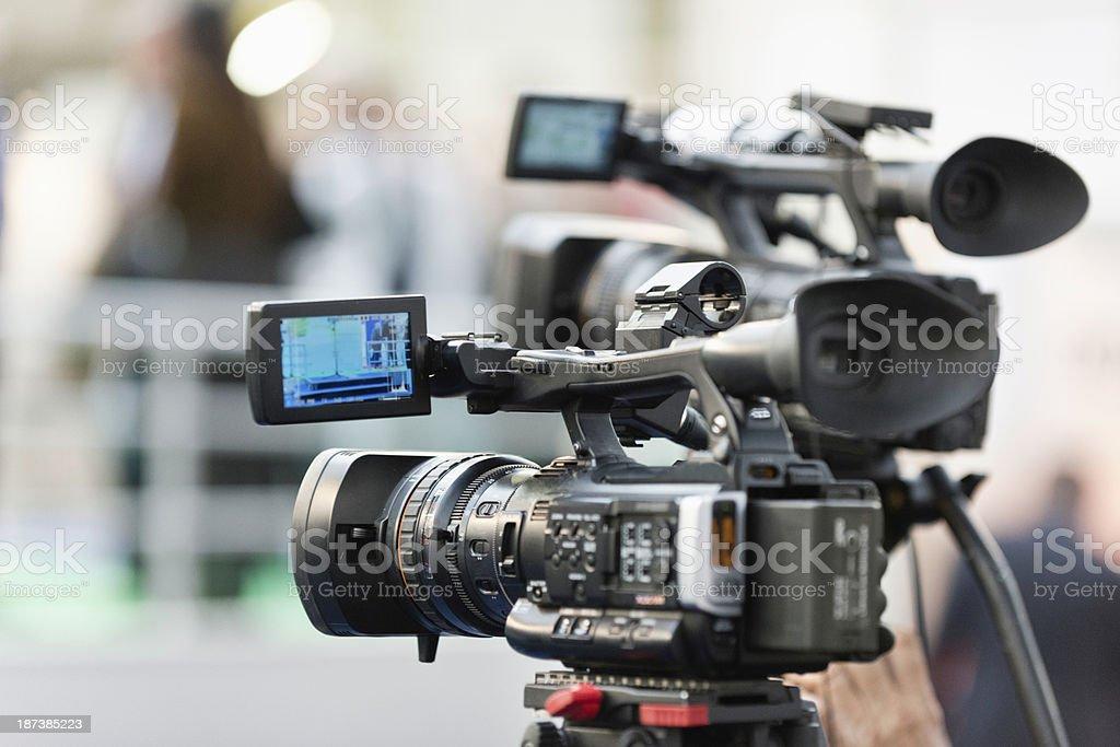 Cameras at press conference royalty-free stock photo