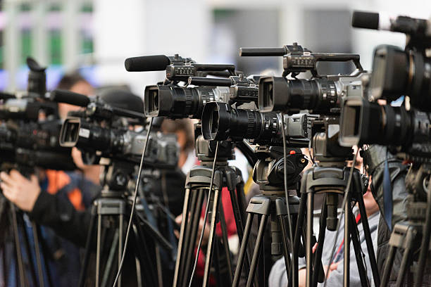 TV cameras TV cameras lined up, covering large public event publicity event stock pictures, royalty-free photos & images