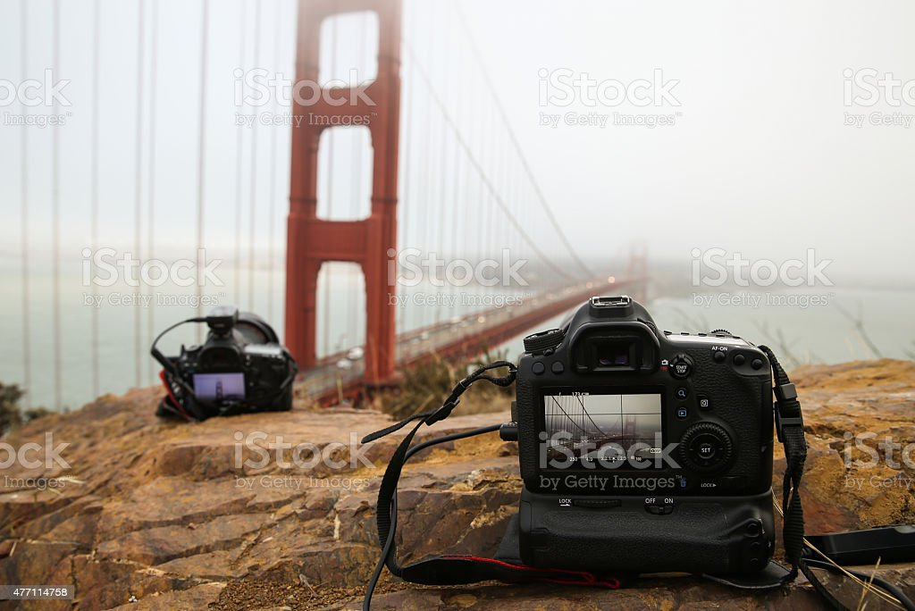 Cameras taking photograph at Golden Gate Bridge stock photo