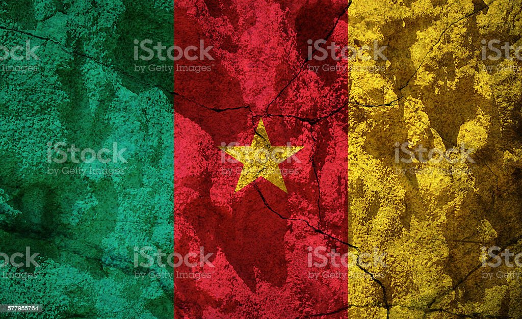 Cameroon flag on stone stock photo