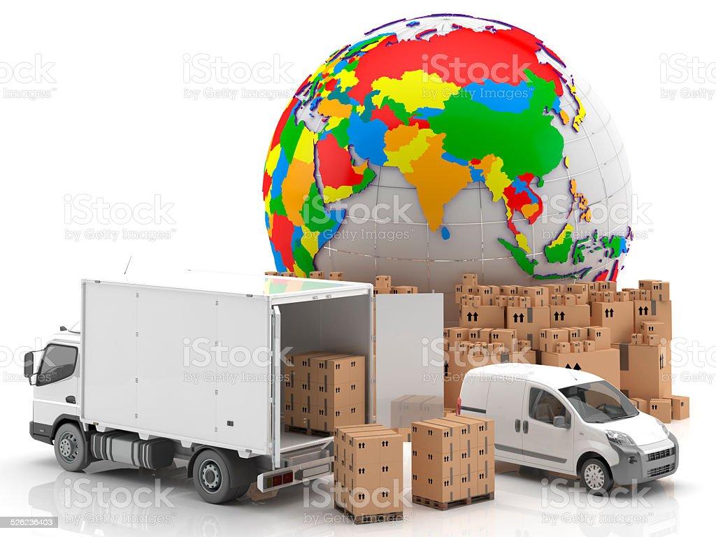 Camión, furgoneta y mercancías para su transporte. Mapamundi con Asia Mercancías preparadas para su transporte y distribución, junto a un camión y una furgoneta. Símbolo del potencial asiático en el ámbito del transporte y la distribución en todo el mundo. Business Finance and Industry Stock Photo