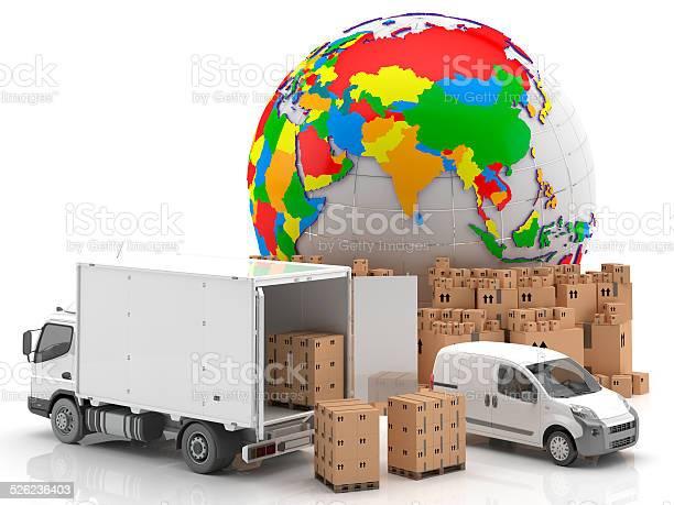 Camión Furgoneta Y Mercancías Para Su Transporte Mapamundi Con Asia Stock Photo - Download Image Now