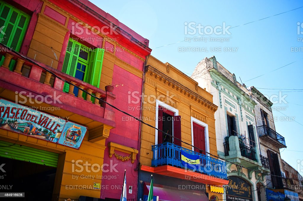 Caminito Buildings in La Boca Neighborhood in Buenos Aires Argentina stock photo