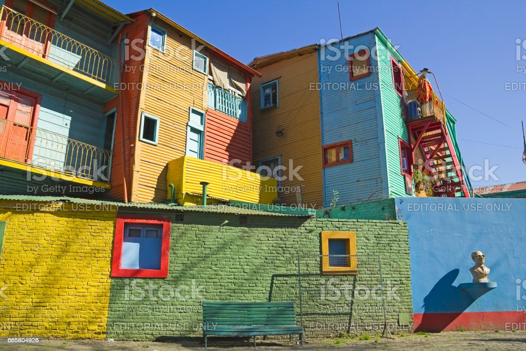 Caminito in La Boca district, Buenos Aires city, Argentina. stock photo