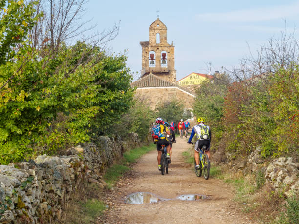 Camino cyclists - Santa Catalina de Somoza stock photo