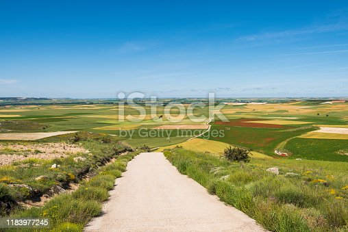 View looking west on the Camino de Santiago from the Alto de Mostelares. To the east (not pictured) is the town of Castrojeriz, Burgos province, Spain. The Alto de Mostelares is the highest peak encountered on the meseta.