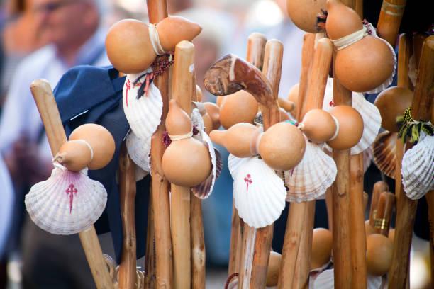 Camino de Santiago pilgrims walking canes, scallop shells. stock photo