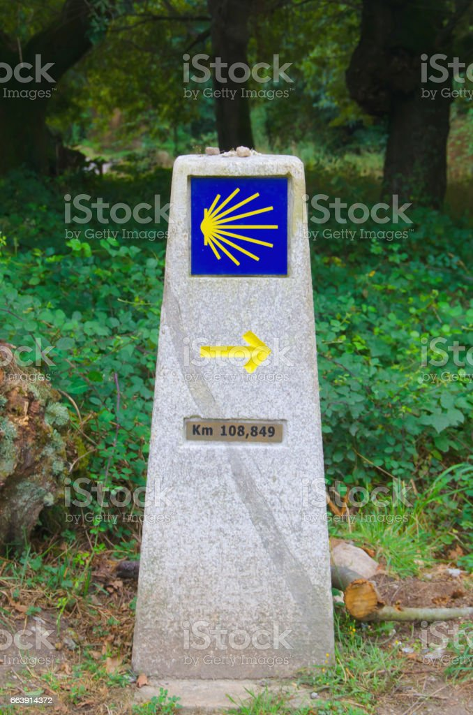 Camino de santiago way marker stock photo