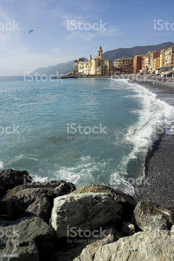 Camogli Beach Landscape, Liguria (Italy) royalty-free stock photo