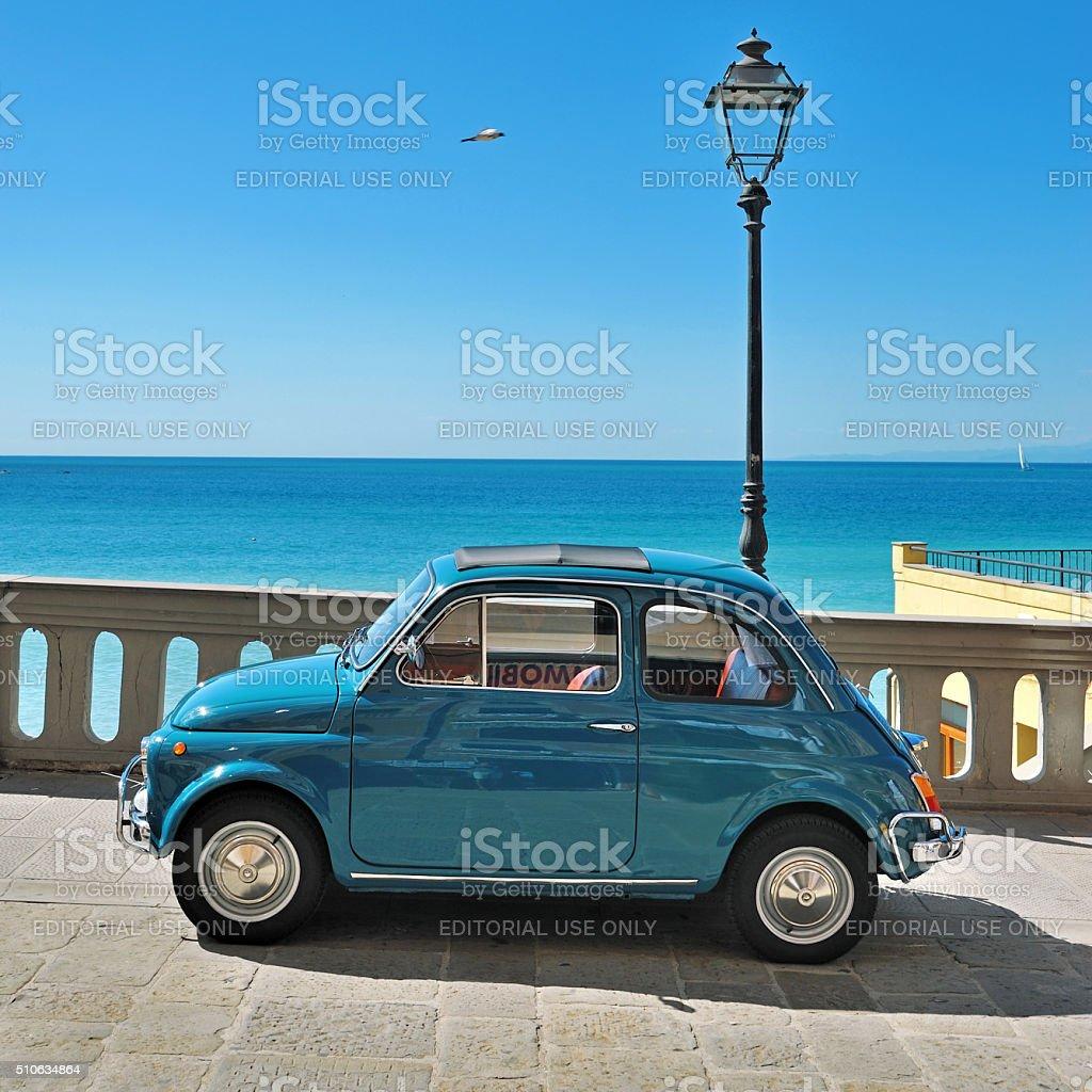 Camogli, Liguria, Italy Festival Fiat 500 Rally stock photo