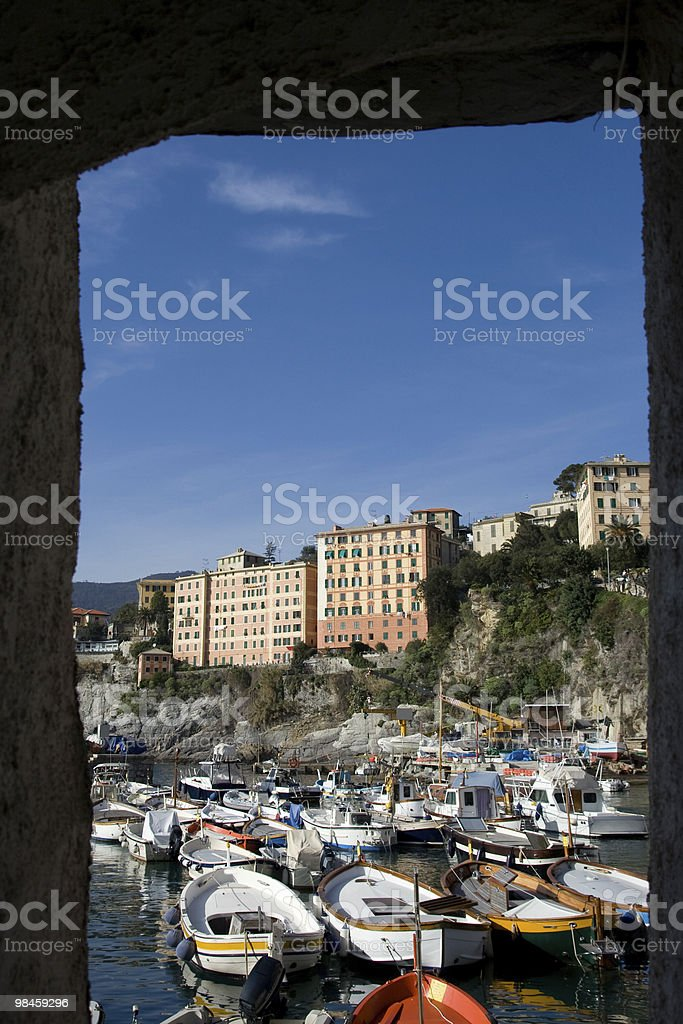 Camogli Port, Liguria Panorama Coast - Italy royalty-free stock photo