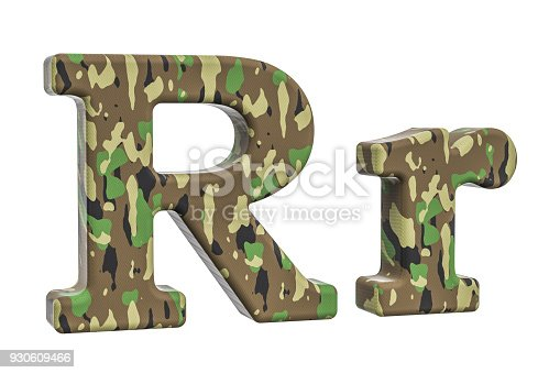 istock Camouflage army letter R, 3D rendering isolated on white background 930609466