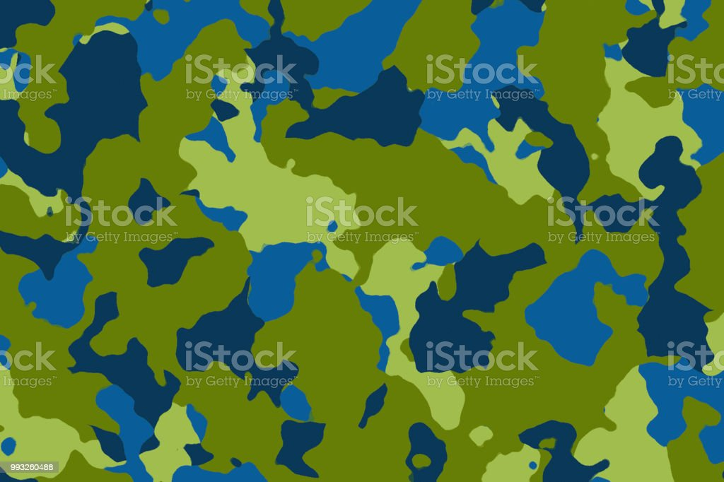 Camouflage background - blue green olive teal stock photo