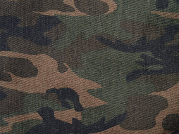 Camouflage brown and green denim military textile background horizontal stock photo