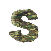 Camouflage english alphabets font texture, 3D rendering isolated on white background