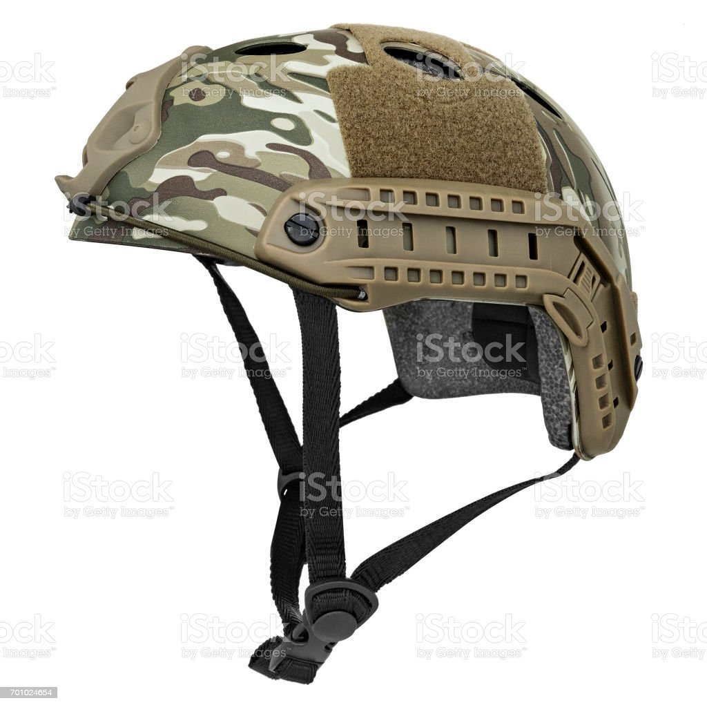 Camouflage, green, khaki military helmet stock photo