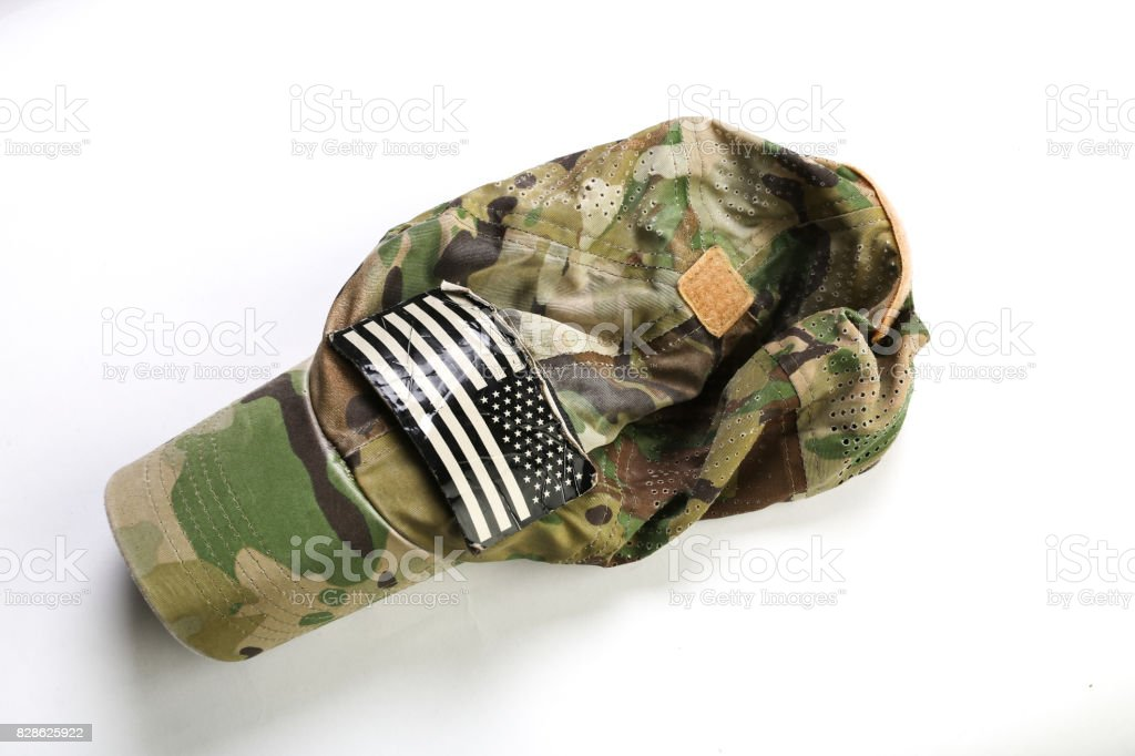 camouflage hat with flag stock photo