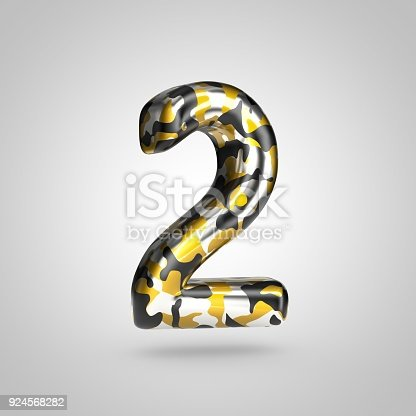 istock Camouflage number 2 with golden, silver and black camouflage pattern isolated on white background. 924568282